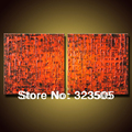 2 piece canvas wall art Modern large abstract orange red heavy oil living room handmade picture