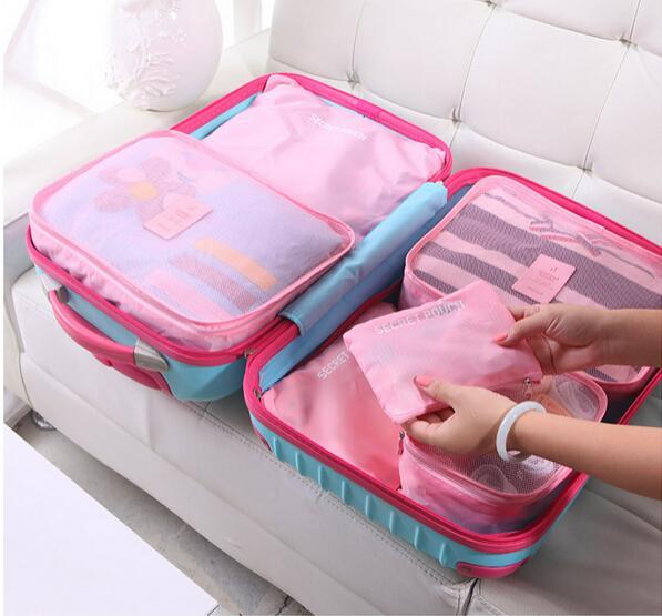 6pcs set Men Women Travel Storage bags Packing Cube Clothes Organizer Set Bags For Trip Suitcase