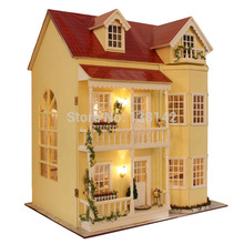 A010 large diy wooden dollhouse villa doll house (Music and LED lights) miniatures for decoration miniature Model Toys(China (Mainland))