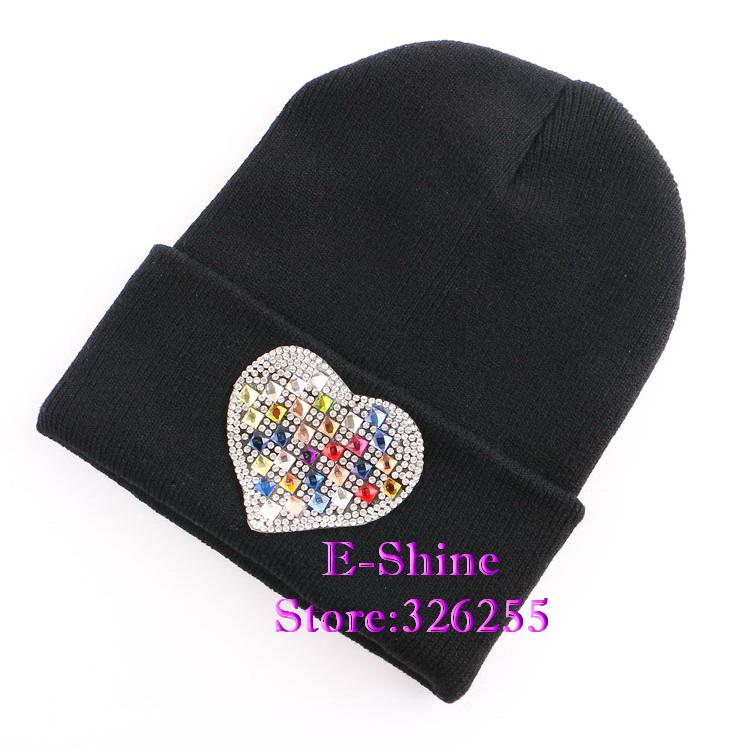 New fashion women beanies hat winter beautiful rhinestone heart designer brand girl woman beanie hats cap wholesaler(China (Mainland))