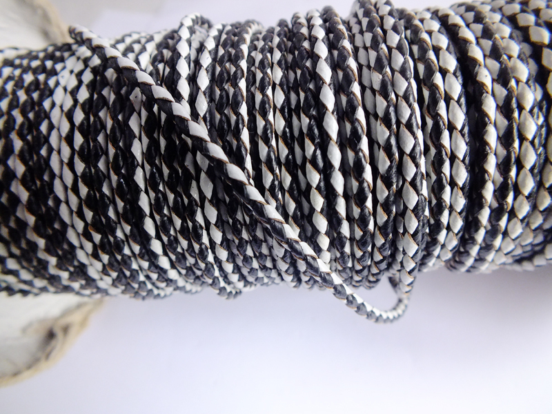 L82163 Bulk 50m/lot Genuine Leather cord 3mm ,braided jewelry cord fit necklace bracelet A-3240(China (Mainland))