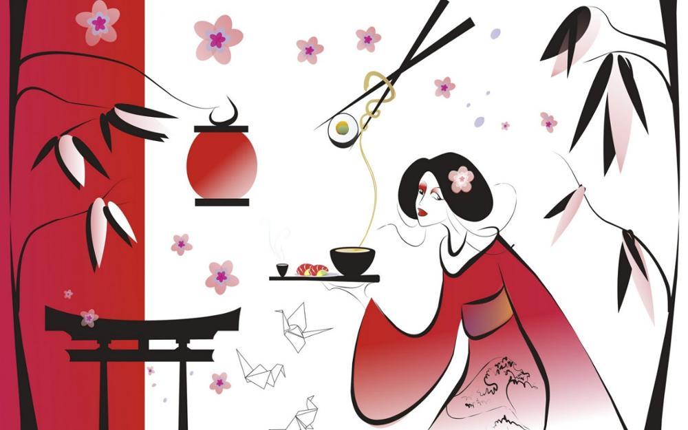 Japonês asiático oriental bokeh 4 natural seda tecido de lona impressão(China (Mainland))
