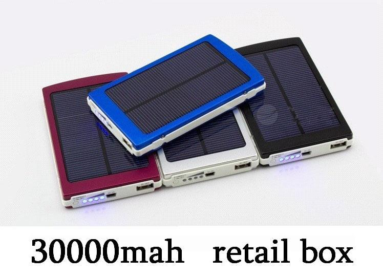 wholesale 10pcs/lot Portable Solar Power Bank 30000mah Solar external battery Charger For most mobile phone(China (Mainland))