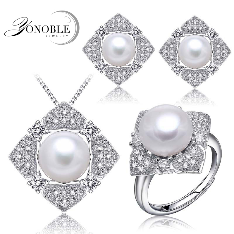wedding jewelry pearl sets pink for women,real natural bridal jewelry sets 925 sterling silver wife anniversary birthday gift