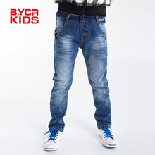 BYCR size 4-12 boys blue denim casual jeans straight fit elastic pants for little big kids 2016 new arrival spring No.71500092(China (Mainland))
