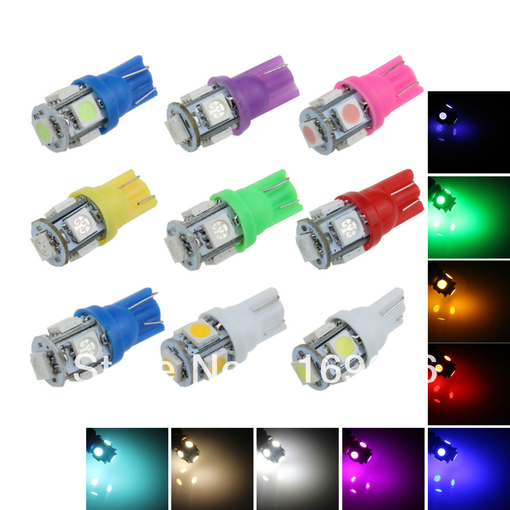 A007 100X Car White Red Blue Green Amber Pink Light 5 SMD 5050 LED T10 W5W 147 168 194 Wedge Instrument Side Bulb Lamp DC 12V(China (Mainland))