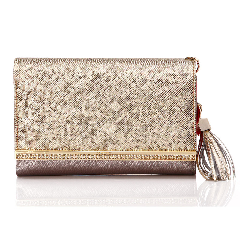 2016 Woman Short Luxury Genuine Leather Wallet Bling Shinning Golden Tassel Metal Heart Purses Ladies Evening Party Clutch Bags(China (Mainland))