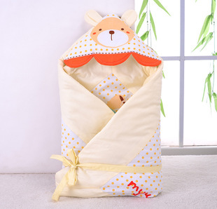 infant cotton twill thicken baby blanket newborn Autumn Winter Swaddling wrapped children sleeping bags cartoon bunny Cute ears(China (Mainland))