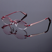 Superb Rich Red Women Rimless Frame Titanium Alloy Optical Frame Diamond Trimming Cut Rimless Glasses With Gradient Tint Lenses