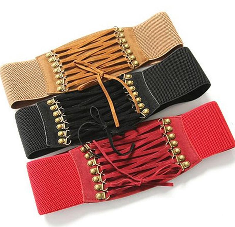 2016 New Velvet Tassel Vintage Rivet Tassel Gauze Cummerbund Women's Belt Accessories Fashion Lady Belts Free Shipping NXH01083(China (Mainland))