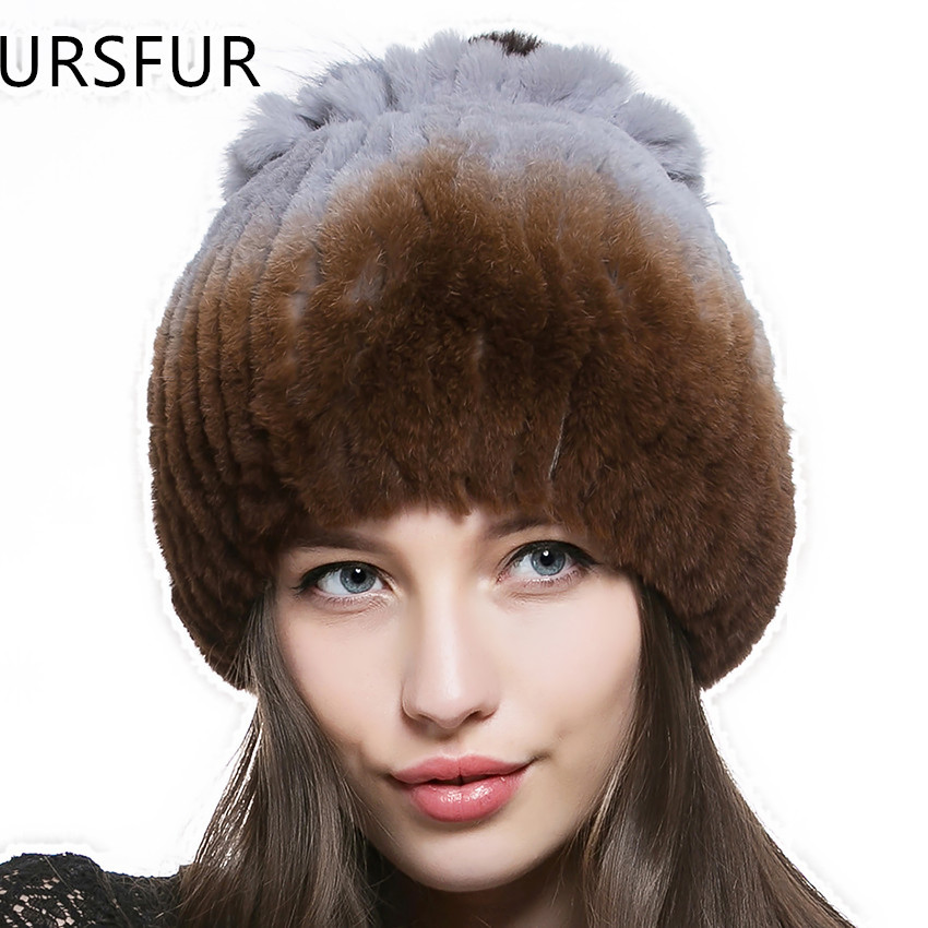 URSFUR 2015 Fashion Women Winter Fur Hats Real Rex Rabbit Fur Beanies Hat with Fur Flower on the Top Female Knitted Caps Hot(China (Mainland))