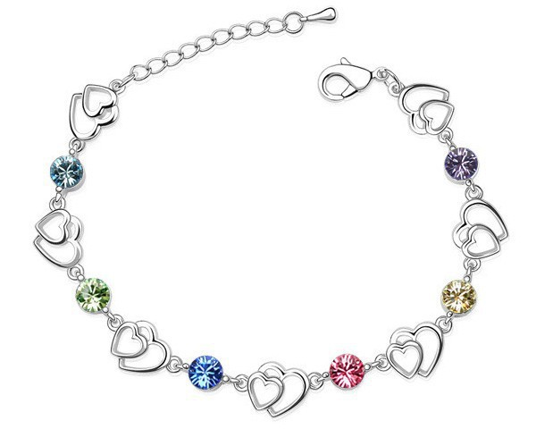 Girlfriend Gifts Double Heart Link Bracelets With Swarovski Elements Crystal Valentine Gifts For Females Cheap Bracelets 6 Color(China (Mainland))