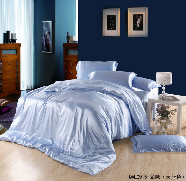 Light Blue Silk Bedding Set Satin Sheets Queen California