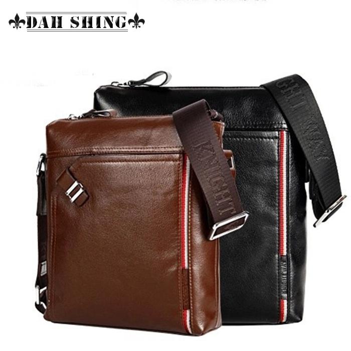 2 solid colors Black/Brown 100% Genuine Leather Briefcase men's handbag men messenger bag 27*23cm(China (Mainland))