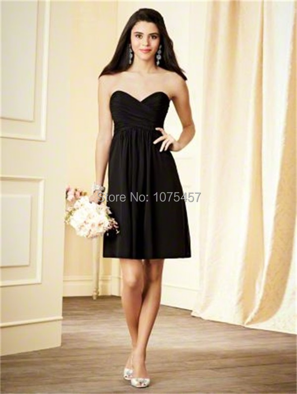 Latest design black bridesmaid dress 2015 elegant for Alfred angelo black and white wedding dress