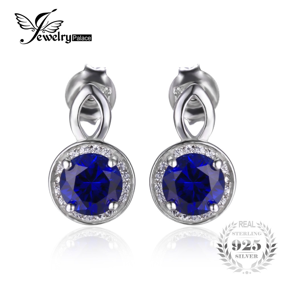 JewelryPalace Round Blue Created Sapphire Stud Earrings For Women Genuine 925 Sterling Silver Jewelry Fine Jewelry Earrings Gift(China (Mainland))