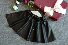 wholesale (5pcs/lot) 2016 Spring PU leather  all-match umbrella skirt for 2-7 years child girl(China (Mainland))