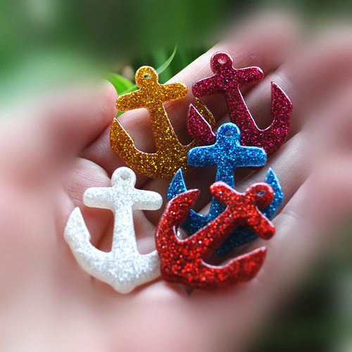 diy anchor earring charms flat back resin cabochons for woman decoration 30pcs mixed 34*28mm(China (Mainland))