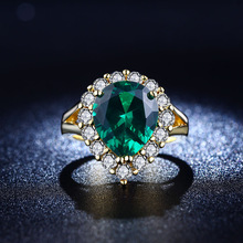 925 sterling silver Jewelry wedding rings For Women fashion Bijoux Ruby Emerald Green gem CZ Diamond ring Classic FTSR2013