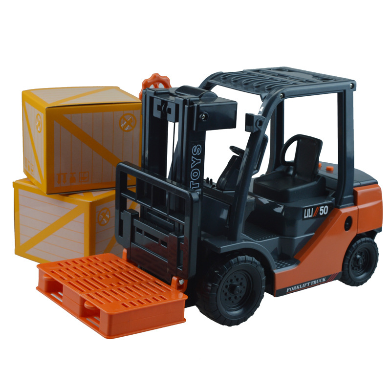 Diecast engineering car model children truck toy internal combustion big forklift with music inertia engineering in box(China (Mainland))
