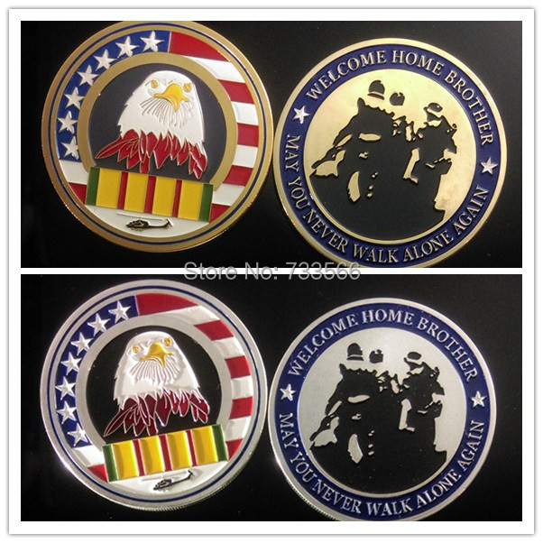 Hot sales! Free shipping 20pcs/lot challenge coin may you never walk alone again welcome home brother coin(China (Mainland))