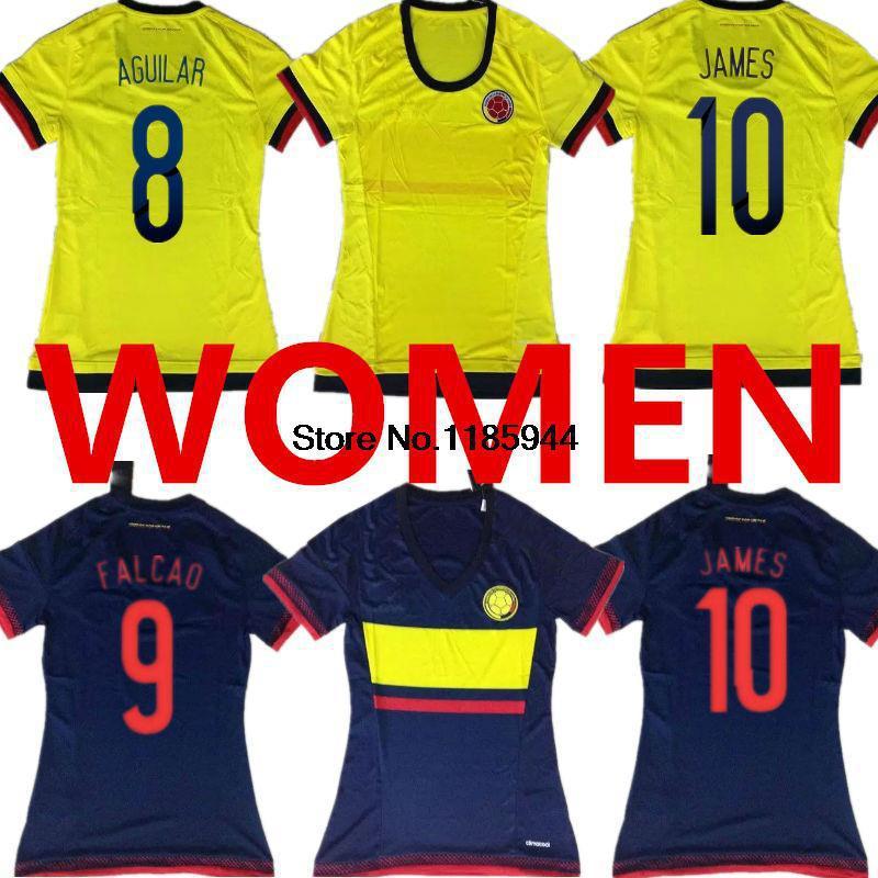 Soccer Jersey Colombia Women 15 16 Falcao Lady James 2015 Colombia Women 2016 Girls Home Yellow Away Black Female Football Shirt(China (Mainland))