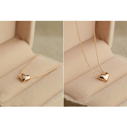 Fashion Lovely Simple Gold Tone Solid Heart Shaped Necklace Pendant Lady/Girl/Woman Party Prom Gift New(China (Mainland))