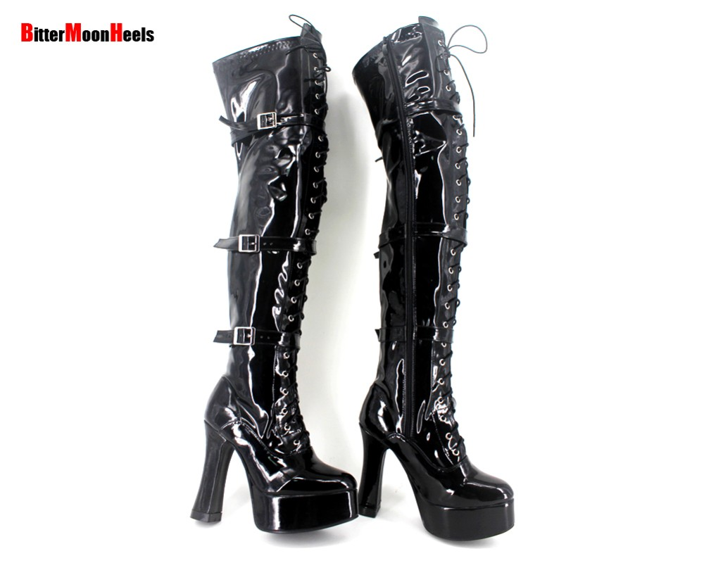 Wholesale Halloween costume Women's 4.5 Inch Heel overKnee High Boot with hook lace up and side zipper.
