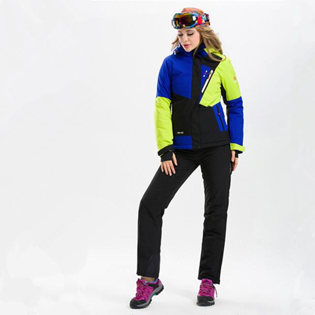 Высокое Качество женские Лыжные Костюмы Лыжные Куртки и Брюки Сноуборд Пиджак и Брюки Горные Лыжи Одежда для Женщин