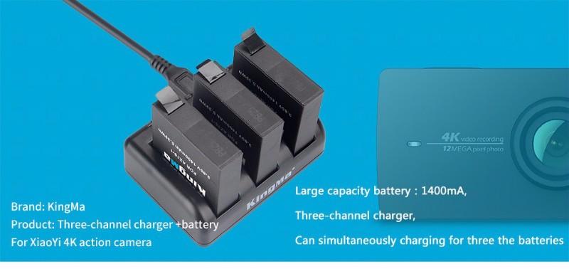 Original KingMa Xiaomi Yi 4K Battery 3PCS 1400mAh Battery and 3 Channel USB Charger For XiaoYi 4K II 2 Xiaomi Yi Accessories