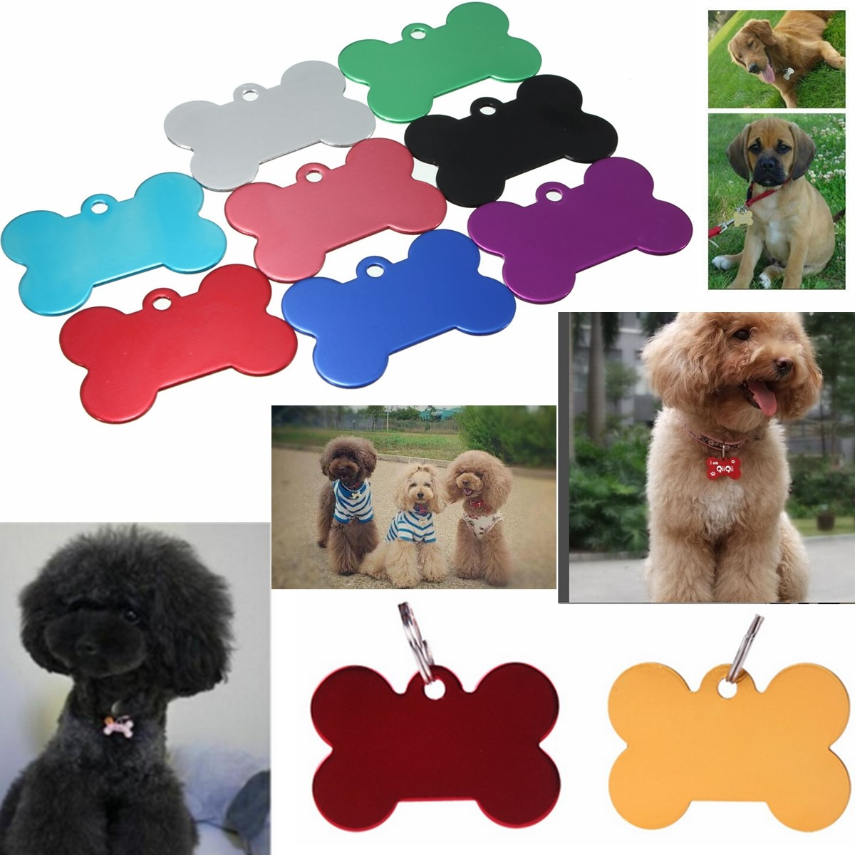 2pcs/Lot Pet Tag Identification Dog Tag The Name Blank Pet ID Tags Dog Cat Animal Name Charm Tag Metal(China (Mainland))