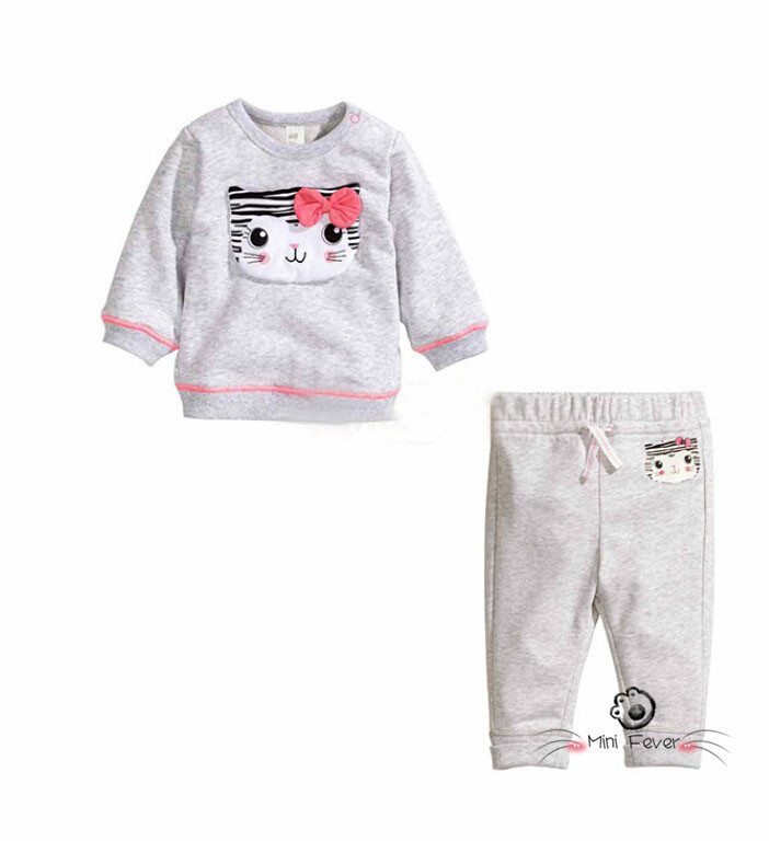 Autumn cute baby girl set Cat Print girls outfits cotton soft long sleeve t shirt + pants baby set sports suit girls tracksuit<br><br>Aliexpress