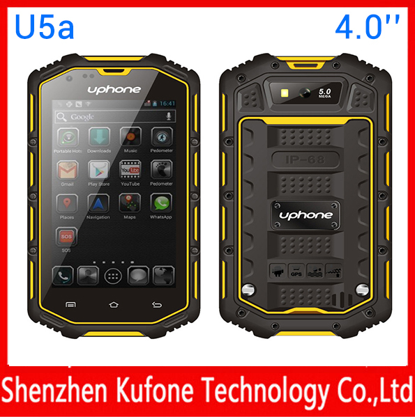 uphone u5a 3g wcdma gsm dual sim best military grade cell,IP68 waterproof shockproof phone Rugged Android Phone Dual Core CPU(China (Mainland))