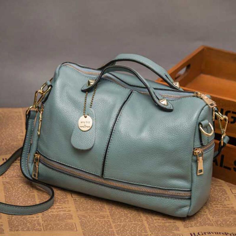 women 2016 bag Genuine leather womens handbag large womens handbag first layer of cowhide cross-body shoulder bag bucket red<br><br>Aliexpress