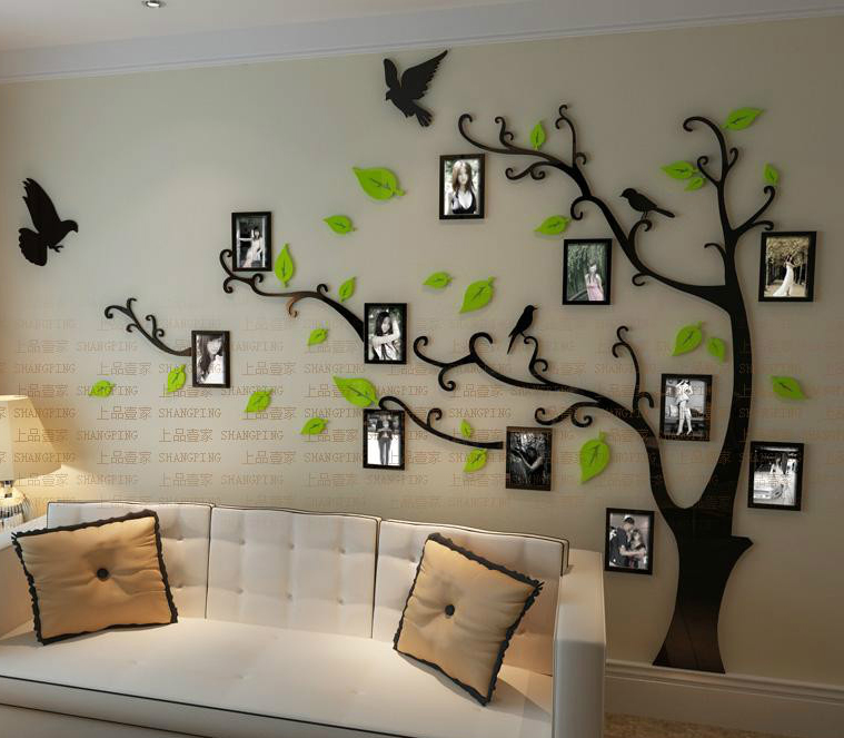 Free shipping Photo frame tree Crystal acrylic three-dimensional wall stickers TV sofa background wall stickers(China (Mainland))