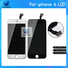 100% NO Dead Pixel High Copy LCD Display Assembly With Frame For iPhone 6 AAA Quality Black and white Free Ship DHL