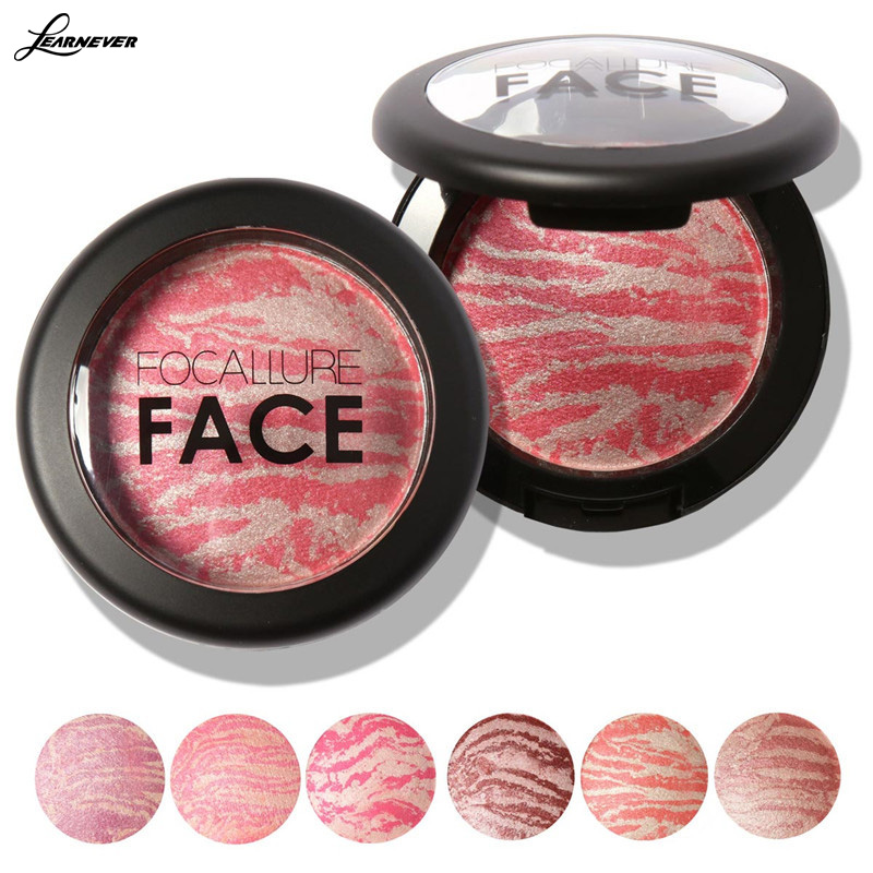 Focallure Cosmetic Mineral Blusher Powder Professional Cheek 6 Colors Makeup Baked Blush Blusher Balm With Brush M02728(China (Mainland))