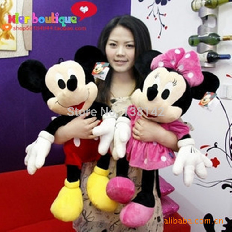50CM 1PCS American Lovely Mickey Mouse Or Minnie Mouse Stuffed animals plush Toys As Gift(China (Mainland))