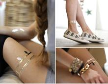 Freeshipping wholesale 5000pcs/Lot body art painting tattoo stickers glitter Metal gold silver temporary flash tattoo Disposable(China (Mainland))