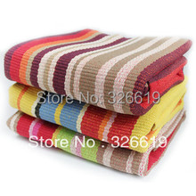 Free Shipping 2016 New fashion 100% cotton hand woven Stripe Tibetan bedroom carpet home mats table mats hand hooked rug carpet(China (Mainland))