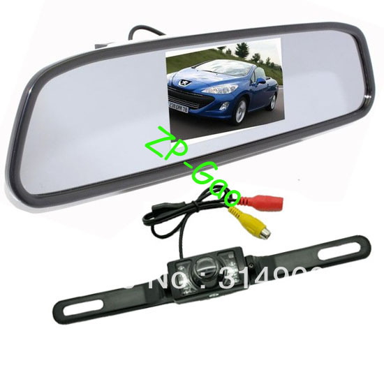 "4.3"" Car LCD Mirror Monitor + IR Reverse Car Rear View Reversing Camera Kit with 5M cable Free Shipping(China (Mainland))"