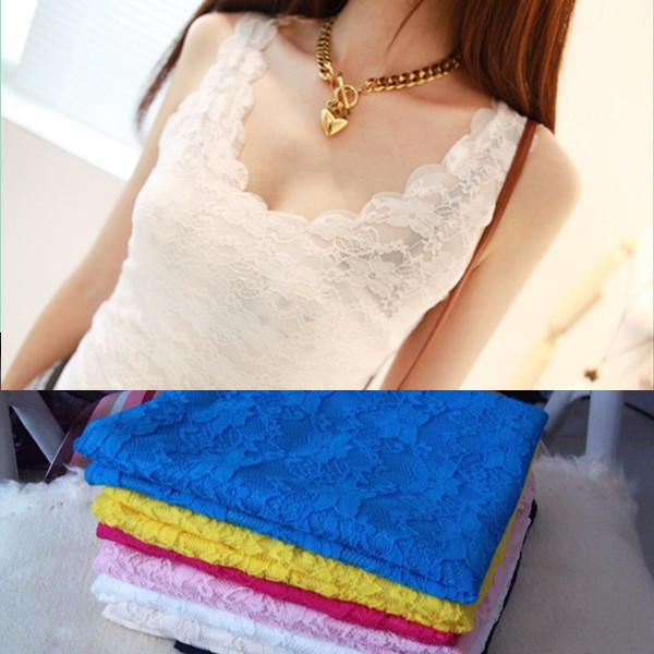 Free Shipping! Black Beige White Pink Yellow Wave Flower Hollow Out Lace Regular Tank Tops Women. Wholesale verious Products(China (Mainland))
