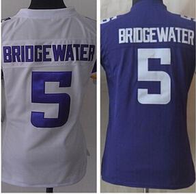 2015 women's American Football Teddy Bridgewater Jersey white purple women Sports Stitched Jerseys free shipping