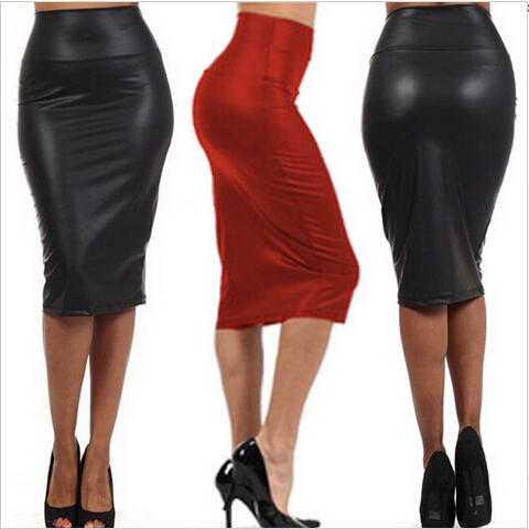 spandex bandage bodycon skirt vintage faux leather