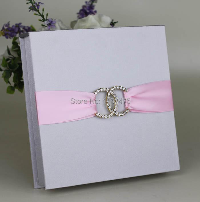 Hi2005 silver dark blue silk wedding invitation box with for Wedding invitation mailing boxes