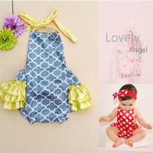 Baby Romper Summer Girl Dress Baby Clothing Set Carter Baby Girl Clothes with Ruffled Pant Jumpsuit Belt Sleeveless Swimwear R-1(China (Mainland))