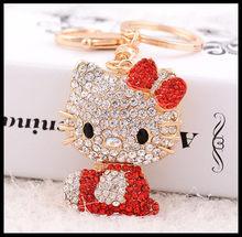 Moda Olá Kitty chaveiro Bolsa Pingente de Carro Requintado Pingente de Presente Favores do Partido Presente de Aniversário(China)
