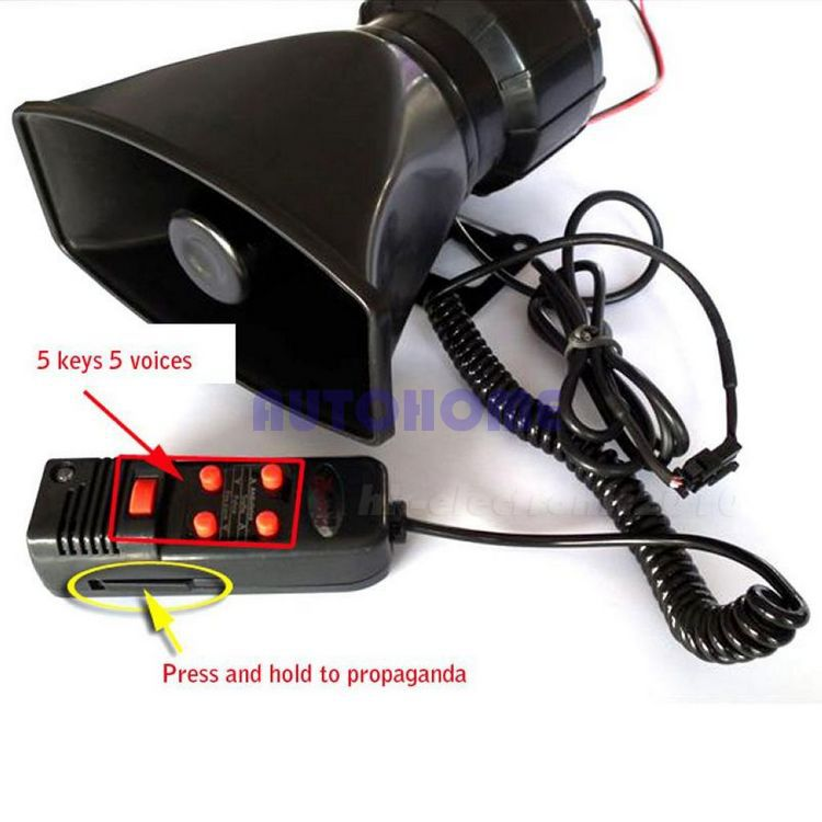 1 X 12V 5 SOUND CAR WARNING ALARM SIREN HORN PA SPEAKER SYSTEM AMPLIFIER MIC EPYG(China (Mainland))