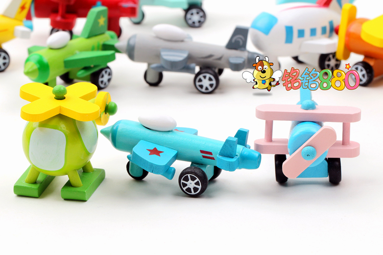 cut e wooden Toy Vehicles minicar car plane toy set 1