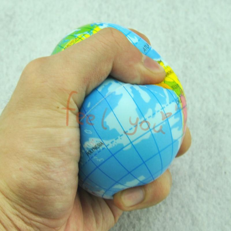 Foam Rubber Ball 1 X 2.91 inch World Map Earth Globe Hand Wrist Exercise Stress Relief Squeeze Soft - FunnyShopping123 store